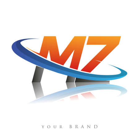 initial logo MZ company name colored orange and blue swoosh design, isolated in white background. vector logo for business and company identity.