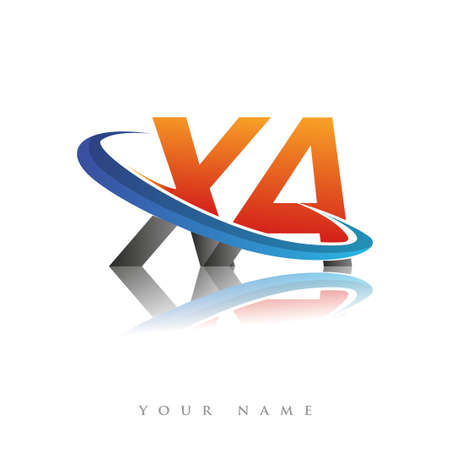 initial logo XA company name colored orange and blue swoosh design, isolated in white background. vector logo for business and company identity.