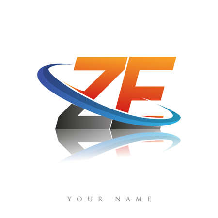 initial logo ZE company name colored orange and blue swoosh design, isolated in white background. vector logo for business and company identity.