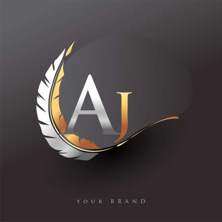 Initial letter AJ logo with Feather Gold And Silver Color, Simple and Clean Design For Company Name. Vector Logo for Business and Company.