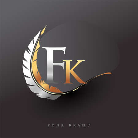 Initial letter FK logo with Feather Gold And Silver Color, Simple and Clean Design For Company Name. Vector Logo for Business and Company.