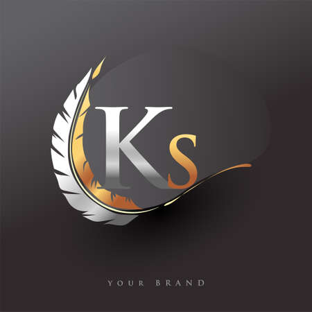 Initial letter KS logo with Feather Gold And Silver Color, Simple and Clean Design For Company Name. Vector Logo for Business and Company.