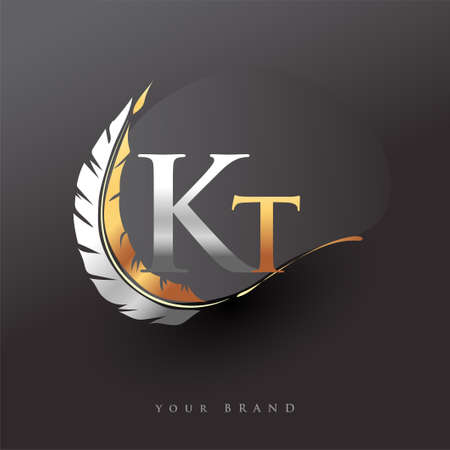 Initial letter KT logo with Feather Gold And Silver Color, Simple and Clean Design For Company Name. Vector Logo for Business and Company.