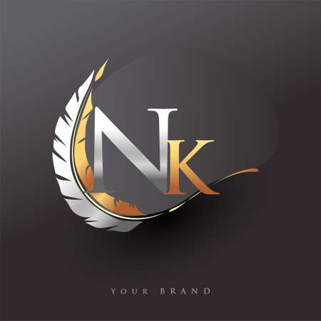Initial letter NK logo with Feather Gold And Silver Color, Simple and Clean Design For Company Name. Vector Logo for Business and Company. Logó