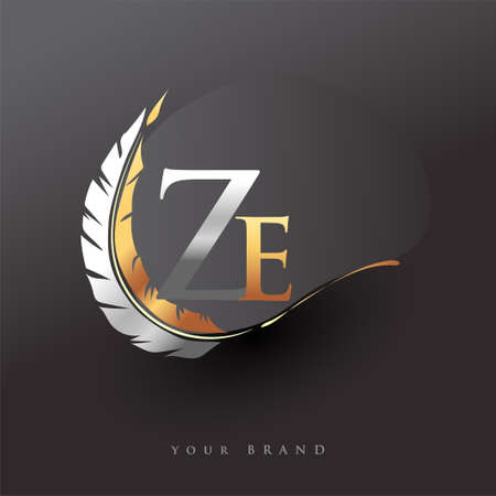 Initial letter ZE logo with Feather Gold And Silver Color, Simple and Clean Design For Company Name. Vector Logo for Business and Company. Logo