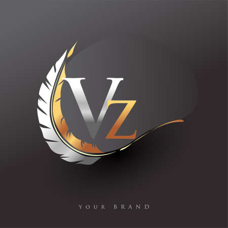 Initial letter VZ logo with Feather Gold And Silver Color, Simple and Clean Design For Company Name. Vector Logo for Business and Company.