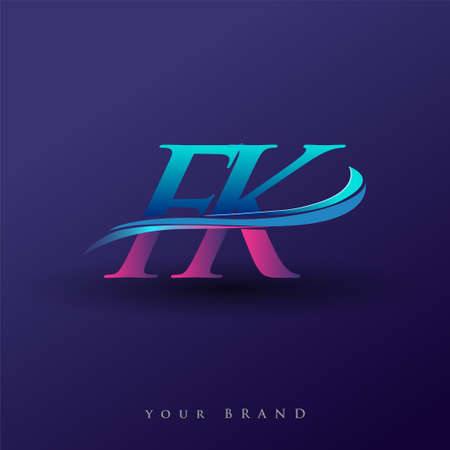 FK initial logo company name colored blue and magenta swoosh design, isolated on white background. vector logo for business and company identity.