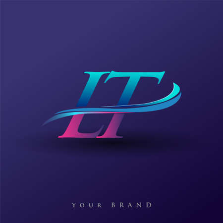 LT initial logo company name colored blue and magenta swoosh design, isolated on white background. vector logo for business and company identity. Logó