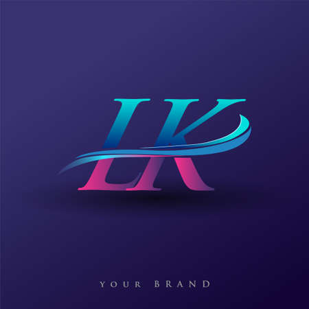 LK initial logo company name colored blue and magenta swoosh design, isolated on white background. vector logo for business and company identity.