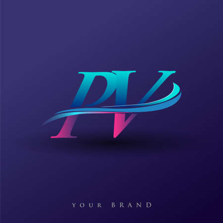 PV initial logo company name colored blue and magenta swoosh design, isolated on white background. vector logo for business and company identity.