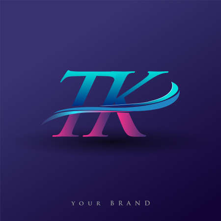 TK initial logo company name colored blue and magenta swoosh design, isolated on white background. vector logo for business and company identity.