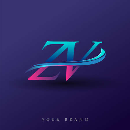 ZV initial logo company name colored blue and magenta swoosh design, isolated on white background. vector logo for business and company identity. Logo