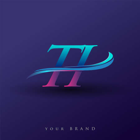 TI initial logo company name colored blue and magenta swoosh design, isolated on white background. vector logo for business and company identity.