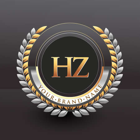Initial logo letter HZ with golden and silver color with laurel and wreath, vector logo for business and company identity.