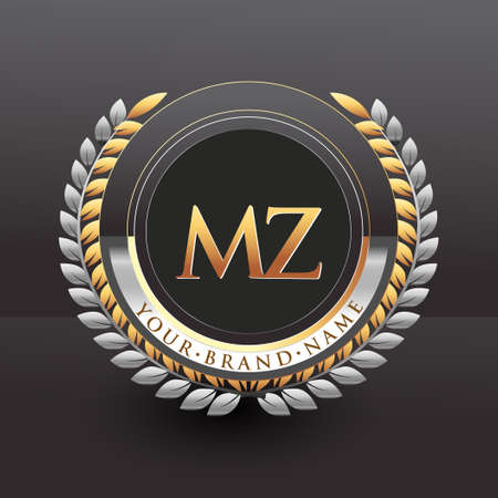 Initial logo letter MZ with golden and silver color with laurel and wreath, vector logo for business and company identity.