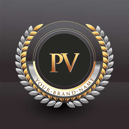 Initial logo letter PV with golden and silver color with laurel and wreath, vector logo for business and company identity.