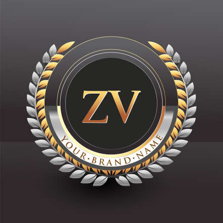 Initial logo letter ZV with golden and silver color with laurel and wreath, vector logo for business and company identity. Logo
