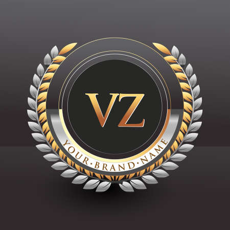 Initial logo letter VZ with golden and silver color with laurel and wreath, vector logo for business and company identity. Logó