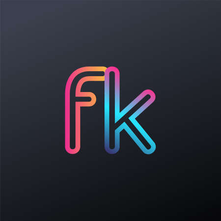 initial logo FK lowercase letter, colorful blue, orange and pink, linked outline rounded logo, modern and simple logo design. Logó