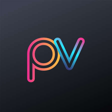initial logo PV lowercase letter, colorful blue, orange and pink, linked outline rounded logo, modern and simple logo design.
