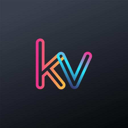 initial logo KV lowercase letter, colorful blue, orange and pink, linked outline rounded logo, modern and simple logo design. Logó