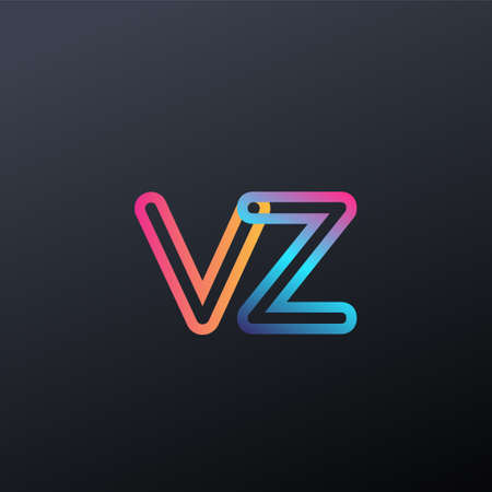 initial logo VZ lowercase letter, colorful blue, orange and pink, linked outline rounded logo, modern and simple logo design.