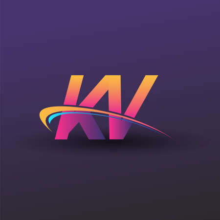 initial letter KV logotype company name colored blue, yellow and magenta swoosh design. vector logo for business and company identity.