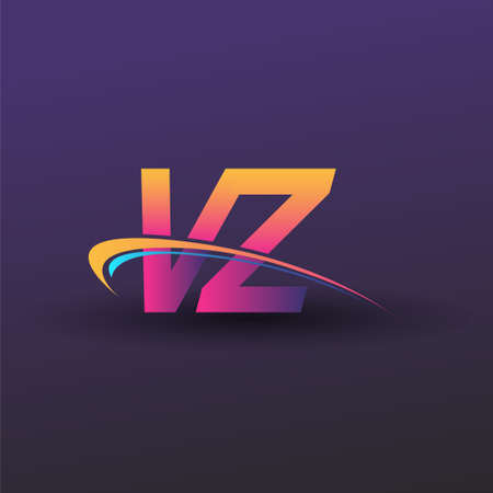 initial letter VZ logotype company name colored blue, yellow and magenta swoosh design. vector logo for business and company identity.
