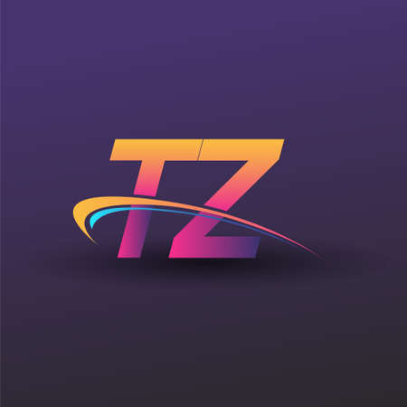 initial letter TZ logotype company name colored blue, yellow and magenta swoosh design. vector logo for business and company identity. Logó