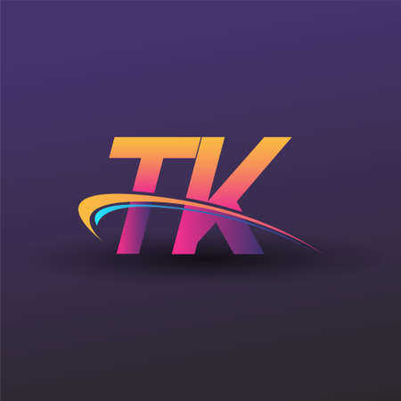 initial letter TK logotype company name colored blue, yellow and magenta swoosh design. vector logo for business and company identity. Logó
