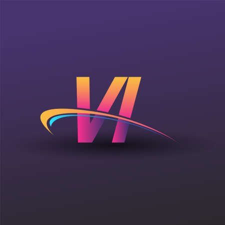 initial letter VI logotype company name colored blue, yellow and magenta swoosh design. vector logo for business and company identity. Logó