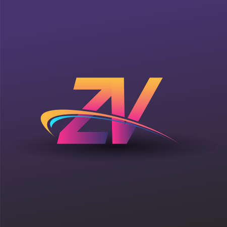 initial letter ZV logotype company name colored blue, yellow and magenta swoosh design. vector logo for business and company identity.
