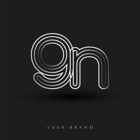 initial logo GN colored black and white with striped composition and lowercase, Vector logo design template elements for your business or company identity. Logó