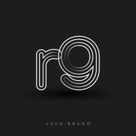 initial logo RG colored black and white with striped composition and lowercase, Vector logo design template elements for your business or company identity.