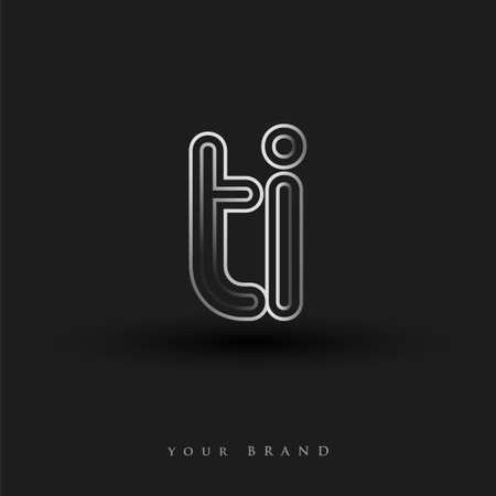initial logo TI colored black and white with striped composition and lowercase, Vector logo design template elements for your business or company identity.