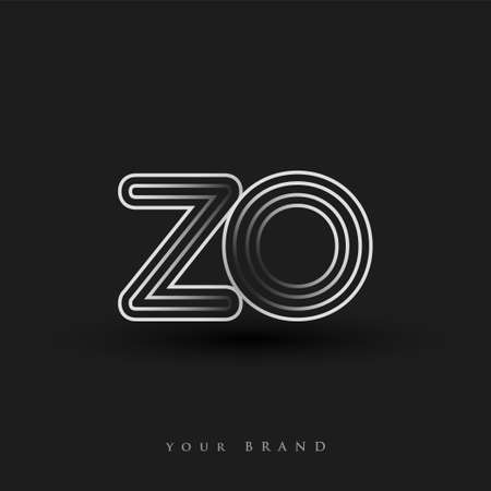 initial logo ZO colored black and white with striped composition and lowercase, Vector logo design template elements for your business or company identity.