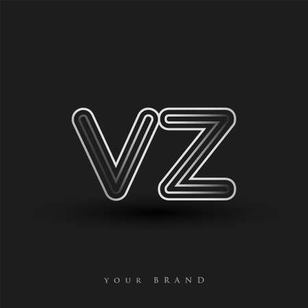initial logo VZ colored black and white with striped composition and lowercase, Vector logo design template elements for your business or company identity.