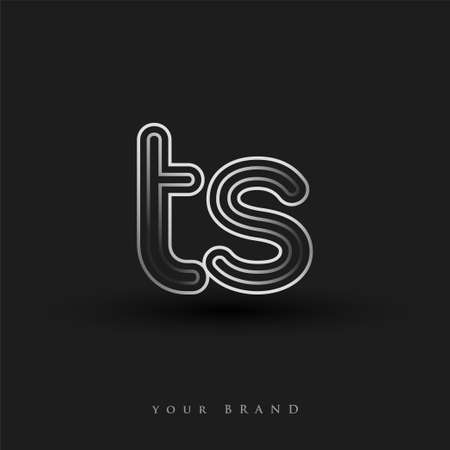 initial logo TS colored black and white with striped composition and lowercase, Vector logo design template elements for your business or company identity.