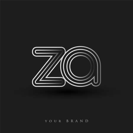 initial logo ZA colored black and white with striped composition and lowercase, Vector logo design template elements for your business or company identity.