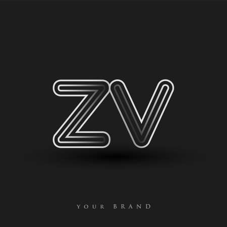 initial logo ZV colored black and white with striped composition and lowercase, Vector logo design template elements for your business or company identity. Logo
