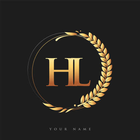 Initial logo letter HL with golden color with laurel and wreath, vector logo for business and company identity.