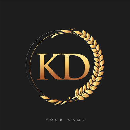 Initial logo letter KD with golden color with laurel and wreath, vector logo for business and company identity. Logó