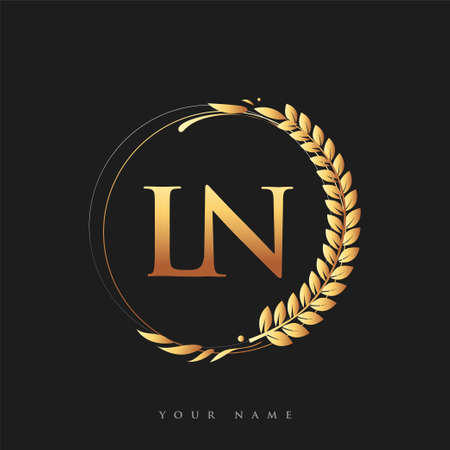 Initial logo letter LN with golden color with laurel and wreath, vector logo for business and company identity.