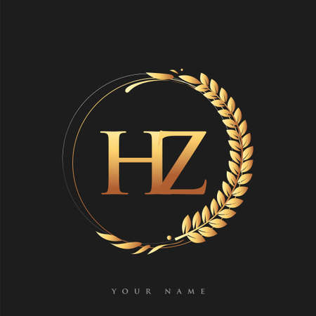 Initial logo letter HZ with golden color with laurel and wreath, vector logo for business and company identity.