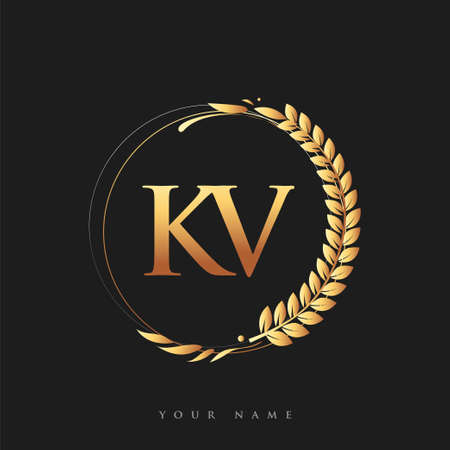 Initial logo letter KV with golden color with laurel and wreath, vector logo for business and company identity.