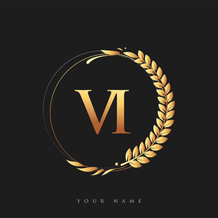 Initial logo letter VI with golden color with laurel and wreath, vector logo for business and company identity.