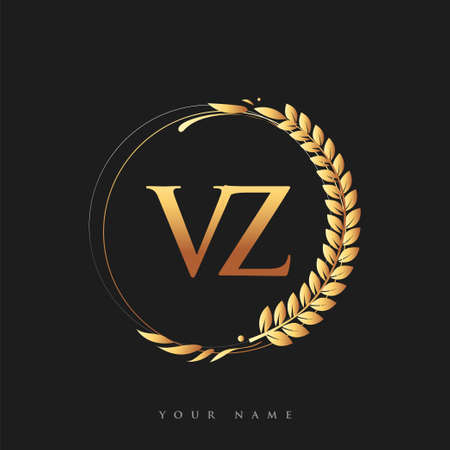 Initial logo letter VZ with golden color with laurel and wreath, vector logo for business and company identity.