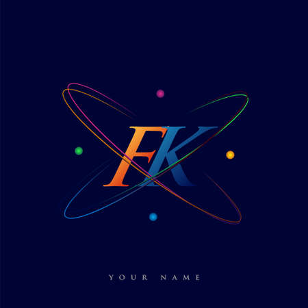 initial letter FK logotype science icon colored blue, red, green and yellow swoosh design. vector logo for business and company identity.