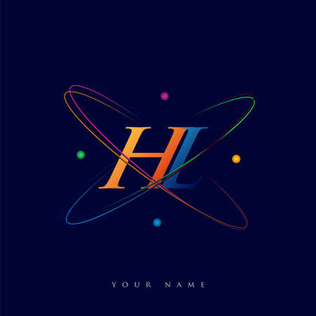 initial letter HL logotype science icon colored blue, red, green and yellow swoosh design. vector logo for business and company identity.