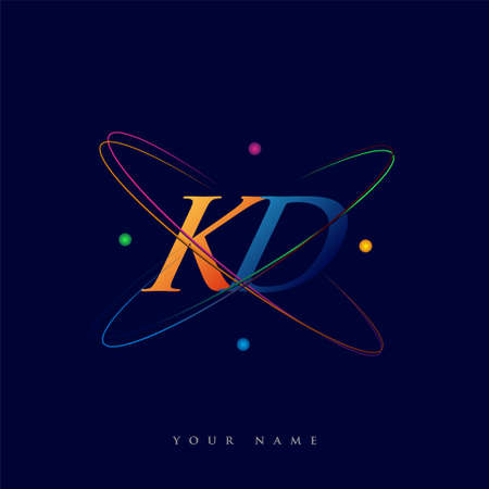 initial letter KD logotype science icon colored blue, red, green and yellow swoosh design. vector logo for business and company identity.